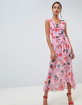 C/Meo Collective Floral Ruffle Midi Dress