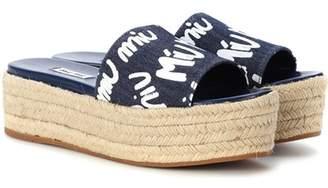 Miu Miu Denim platform espadrille sandals