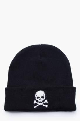 boohoo Halloween Skull Embroidery Beanie