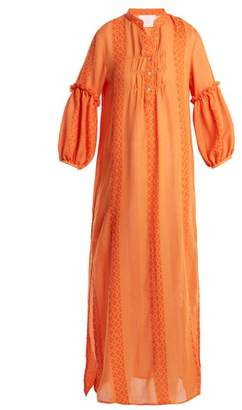 Binetti Love Jacquard Striped Stand Collar Cotton Dress - Womens - Orange