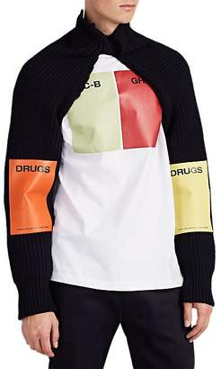 Raf Simons Men's Play-Patch Rib-Knit Sleeves - Blue