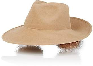 Lola Hats Women's Bookends Pom-Pom Fur Fedora - Camel
