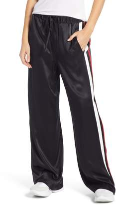 Treasure & Bond Wide Leg Satin Track Pants