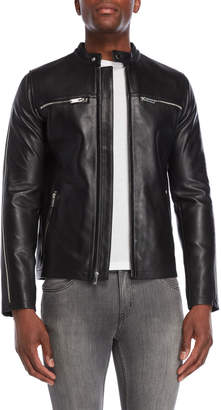 Karl Lagerfeld Paris Leather Zipper Racer Jacket