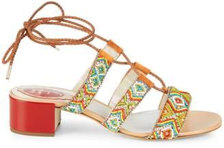 Rene Caovilla Embellished Ankle-Strap Leather Sandals