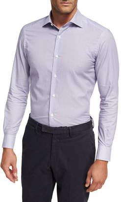 Ermenegildo Zegna Geometric Box-Print Cotton Shirt, Light Purple