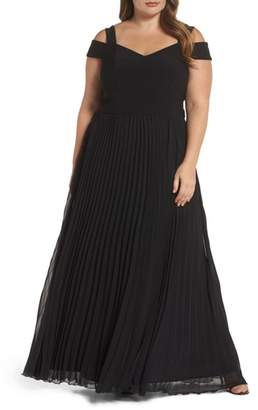 Xscape Evenings Pleated Cold Shoulder Gown