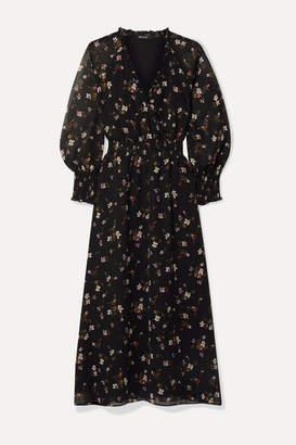 Madewell Wrap-effect Floral-print Chiffon Midi Dress - Black