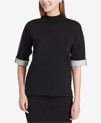 Calvin Klein Mock-Neck Contrast-Cuff Sweater