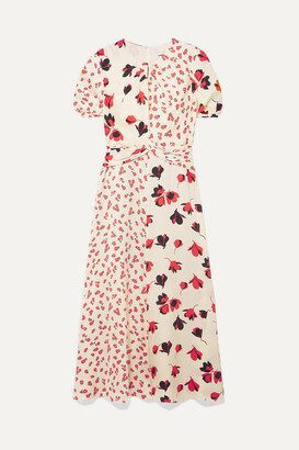 Self-Portrait Paneled Floral-print Satin-jacquard Midi Dress - Cream