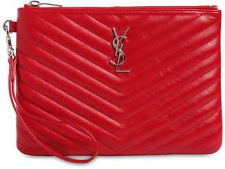 Saint Laurent Monogram Leather Pouch W/ Wrist Strap