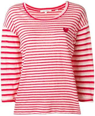 Parker Chinti & embroidered heart striped knitted top