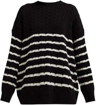 aca974cd63 Loewe Oversized Striped Cable Knit Wool Sweater - Womens - Black White
