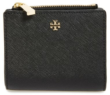 Women's Tory Burch 'Mini Robinson' Leather Wallet - Black