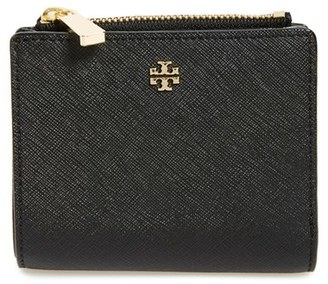 Women's Tory Burch 'Mini Robinson' Leather Wallet - Black $135 thestylecure.com