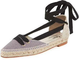 Castaner Colorblock Ankle-Wrap d'Orsay Espadrille, Gray/Black