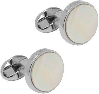 Mulberry Semi Precious Round Cufflinks Mother of Pearl Silver Plated