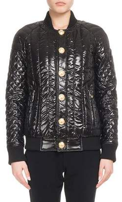 Balmain Matelasse Button-Front Shiny Puffer Coat
