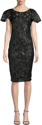 Marina Embroidered Sequin Sheath Dress