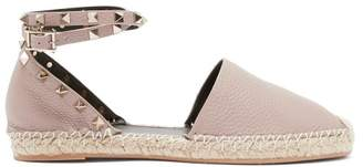 Valentino Rockstud Wraparound Leather Espadrilles - Womens - Nude