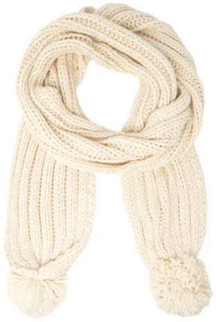 Dorothy Perkins Oatmeal chunky pom scarf