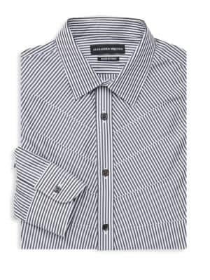 Alexander McQueen Striped Rib Cage Stitch Cotton Shirt
