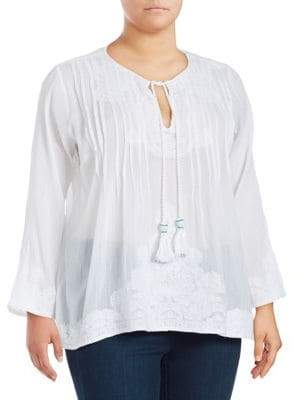 Context Plus Embroidred Peasant Top