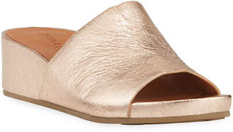 Gentle Souls Gisele Metallic Leather Demi-Wedge Slide Sandals