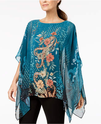JM Collection Petite Embellished Poncho Top