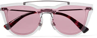Valentino Cat-eye Acetate And Silver-tone Sunglasses - Pink
