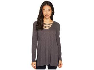 Lilla P Long Sleeve Laced Neck Tunic Women's Blouse
