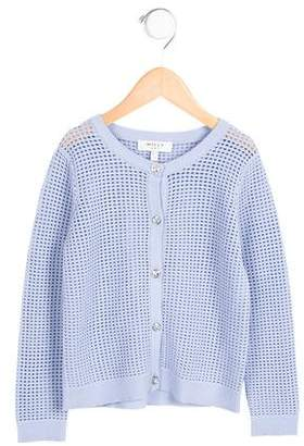 Milly Minis Girls' Embellished Open Knit Cardigan