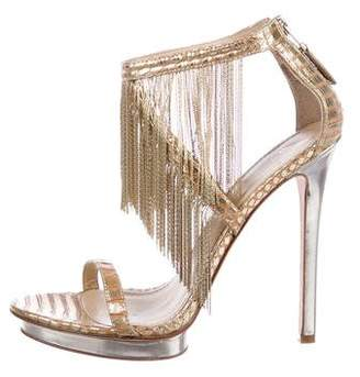 Brian Atwood Python Ankle Strap Sandals