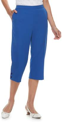 Alfred Dunner Women's Studio Pull-On Button Hem Capri Pants