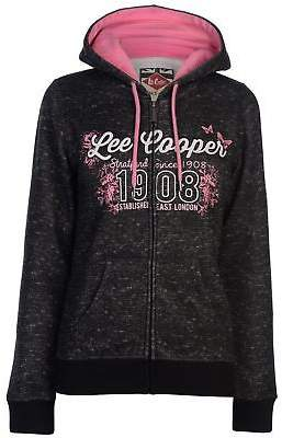 Lee Cooper Womens Tex AOP Zip Hoody Hoodie Hooded Top Cotton Full Pattern