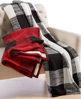 Martha Stewart Collection CLOSEOUT! Collection Sweater-Knit Buffalo Check Throw, Created for Macy's