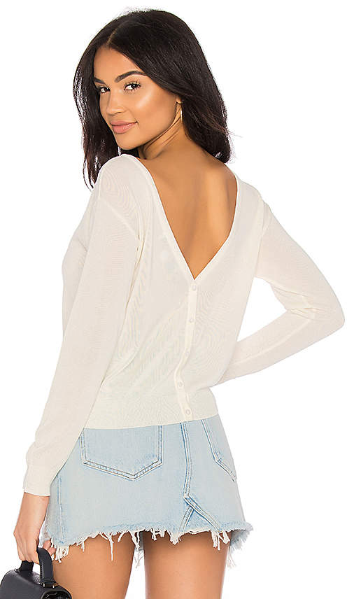 Button Up V Back Sweater