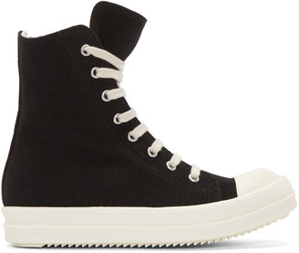 Rick Owens Drkshdw Black Canvas High-Top Sneakers $715 thestylecure.com