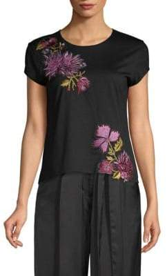Josie Natori Floral-Embroidered Tee
