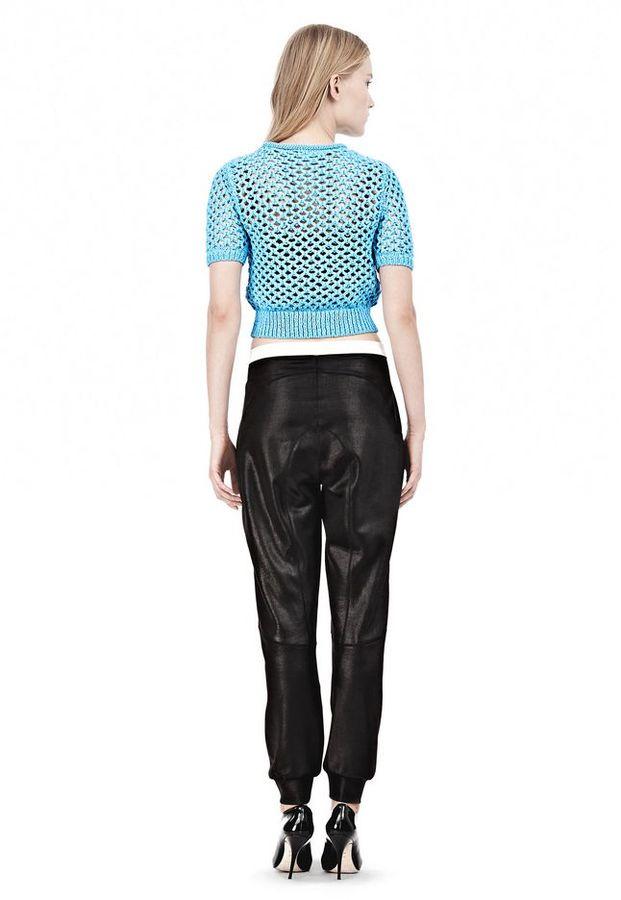 Alexander Wang Nylon Tape Open Knit Short Sleeve Pullover