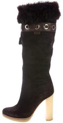 Gucci Fur-Trimmed Knee-High Boots