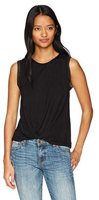 Soul Cake Women's Hammered Satin Back TEE with Twist