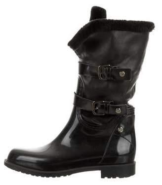 Stuart Weitzman Rubber Round-Toe Boots