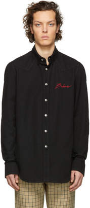 Balmain Black Cotton Signature Logo Shirt
