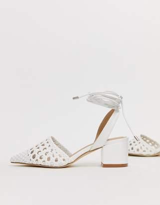 333585c6c2d7 Raid RAID Olena white woven ankle tie heeled shoes