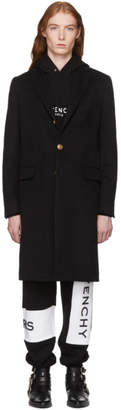Givenchy Black Wool and Cashmere 4G Button Coat