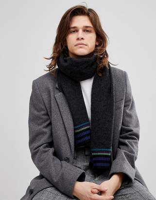 Paul Smith Wool Stripe End Scarf In Black