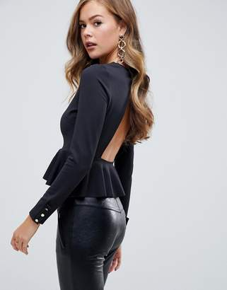 Asos Design DESIGN long sleeve back detail scuba peplum top with gold button trims