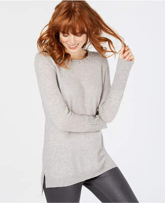 Charter Club Faux-Pearl-Embellished Pure Cashmere Sweater