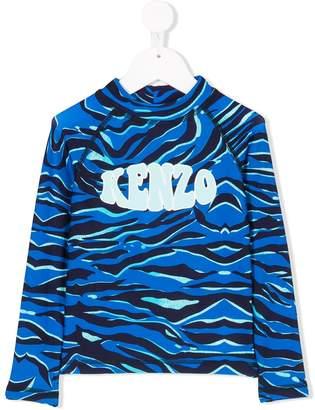 Kenzo logo sea print swim top